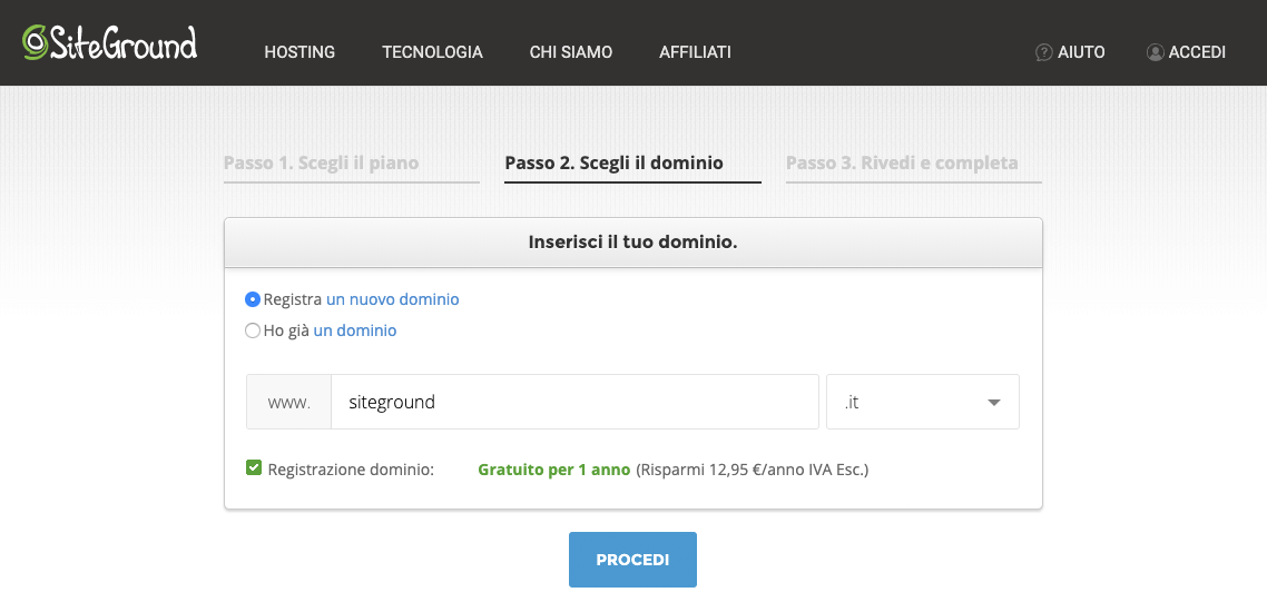 scegliere nome dominio wordpress