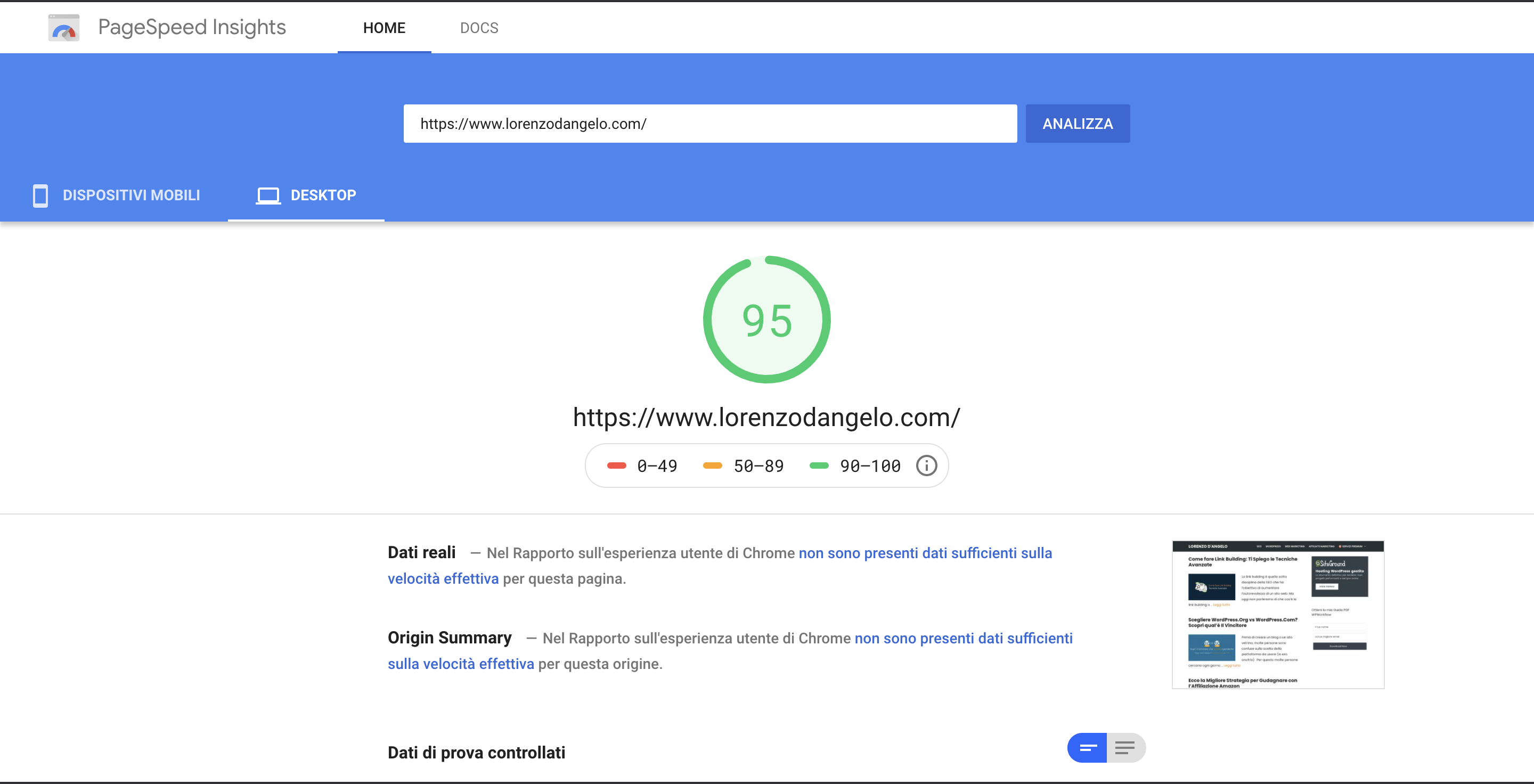 generatepress pagespeed insight